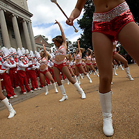 TUSCALOOSA, AL -- October, 24, 2009 -- University of Alabama Crimsonettes, including Carly Oswalt, center, perform with Million Dollar Band in front of the Amelia Gayle Gorgas Library prior to the Crimson Tide's 12-10 victory over the University of Tennessee Volunteers at Bryant-Denny Stadium in Tuscaloosa, Ala., Saturday, Oct. 24, 2009.