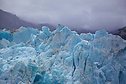 Closeup of face of South Sawyer Glacier in the Tracy Arm Ford Terror Wilderness Area on tour with Tracy Arm Adventure Bound.