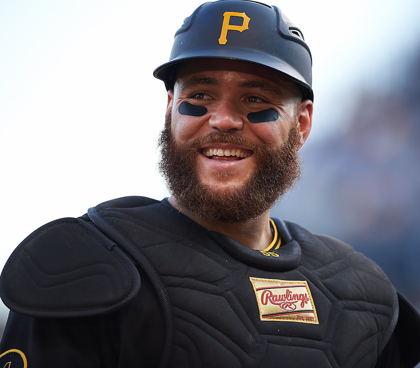 Pittsburgh Pirates catcher Russell Martin (#55) smiles at fans after the game against the St. Louis Cardinals at PNC Park in Pittsburgh on August 30, 2014. © 2014 Shelley Lipton.