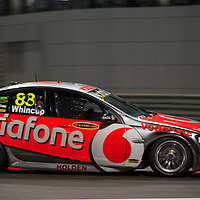 car of winner jamie whincup.YAS V8 400 and BY GP2 ASIA SERIES in yas marina circuit, abu dhabi UAE.11-12 february 2011.winners Jamie Whincup - team vodaphone (1), Alex davidson - irwin racing (2), makr winterbottom - orrcon steel fpr falcon (3)...real action heroes event..Providing the action for the main event are the Australian V8 Supercars, a two-car series of makers Holden and Ford - a close rivalry that runs deep in Australian culture. This season, that rivalry is heightened by the switch of 2010 series Champion James Courtney, who drives with the coveted No.1 plate, from his winning 2010 Ford Falcon to the Holden Commodore for 2011.