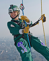 MAR 10 2014 Celebrities Abseil The Bt Tower For Charity