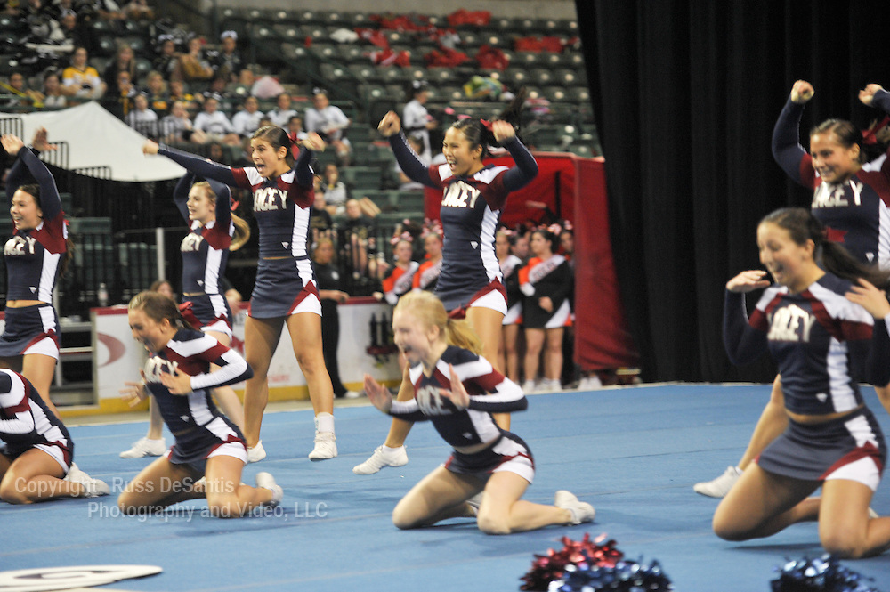 Lacey Coed cheerleading team at the 19th annual NJ state cheerleading championship at the Sun Center in Trenton on 3/6/11.