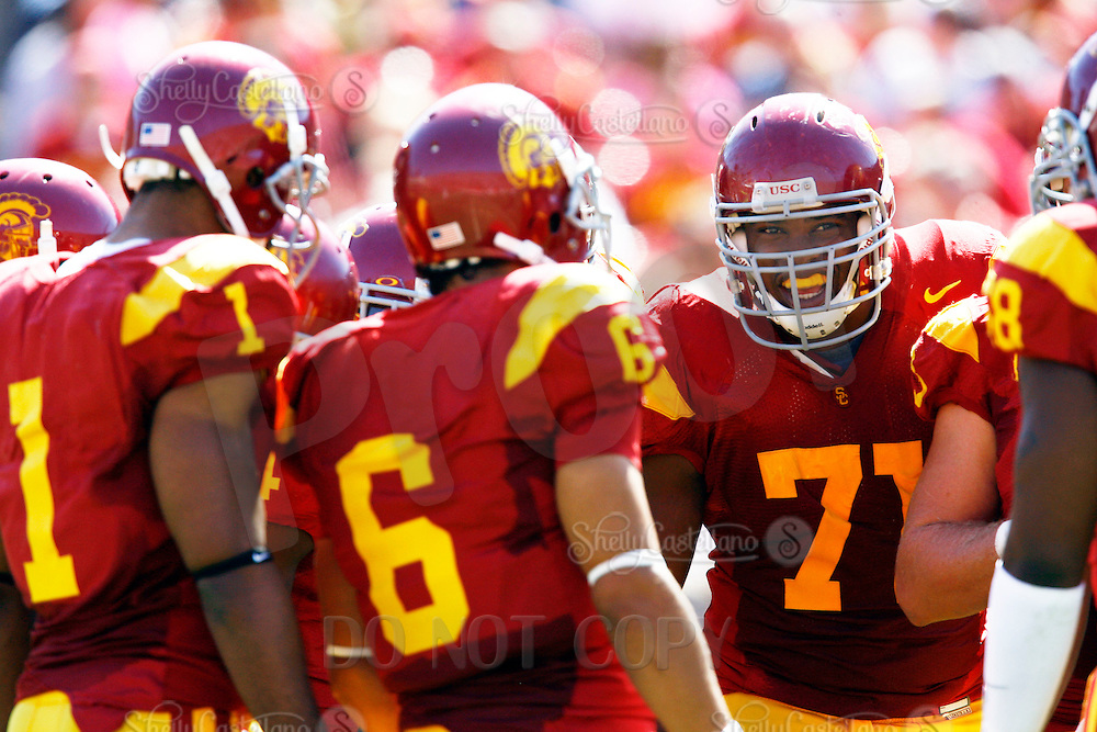 11 October 2008: OT Charles Brown #71 in a huddle during NCAA Pac-10 USC Trojans 28-0 shut-out win over the Arizona State University Sun Devils during a day college football game at the Los Angeles Memorial Coliseum in Southern California.