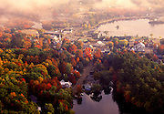 Aerial image of Meredith, New Hamsphire and Lake Winnipesaukee in the fall, America Northeast