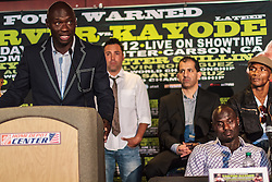 CARSON - MAY 31: Former light heavyweight kingpin and SHOWTIME ringside boxing analyst Antonio 'Magic Man' Tarver (L) and Boxer Lateef 'Power' Kayode (R) at Home Depot Center Press Conference. All fees must be ageed prior to publication,.Byline and/or web usage link must read PHOTO Eduardo E. Silva/SILVEX.PHOTOSHELTER.COM Failure to byline correctly will incur double the agreed fee.
