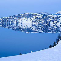 Sunset at Crater Lake in Crater Lake National Park, Oregon
