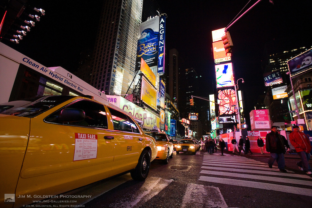 Times Square street scene, New York City at night