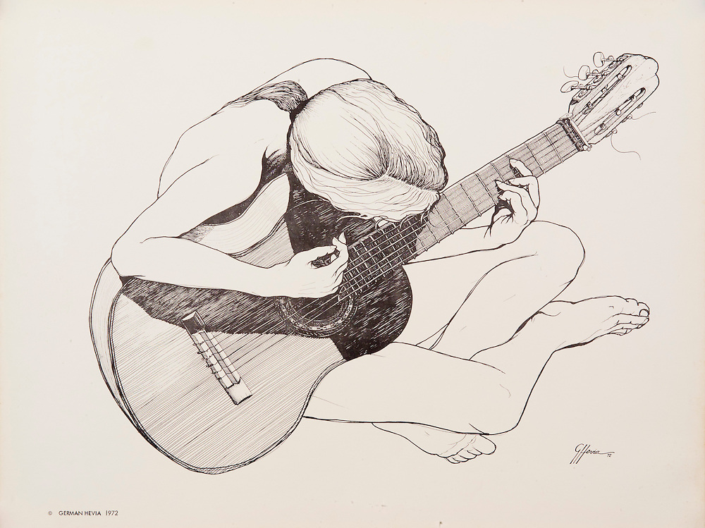Cat.#3 Lithographic print of Pen and Ink drawing of a girl playing a guitar. <br /> Printed on heavy, smooth stock. Paper size is 10x13&quot;. Image size is approximately 10 1/2 x 8 1/4&quot; <br /> Cat. #3 - Impresi&oacute;n litogr&aacute;fica de un dibujo a plumilla de una muchacha sentada tocando guitarra. <br /> Impreso en papel grueso y liso.Tama&ntilde;o del papel es 10 x 13&quot;. Tama&ntilde;o de la imagen es aproximadamente 10 1/2x8 1/4&quot;