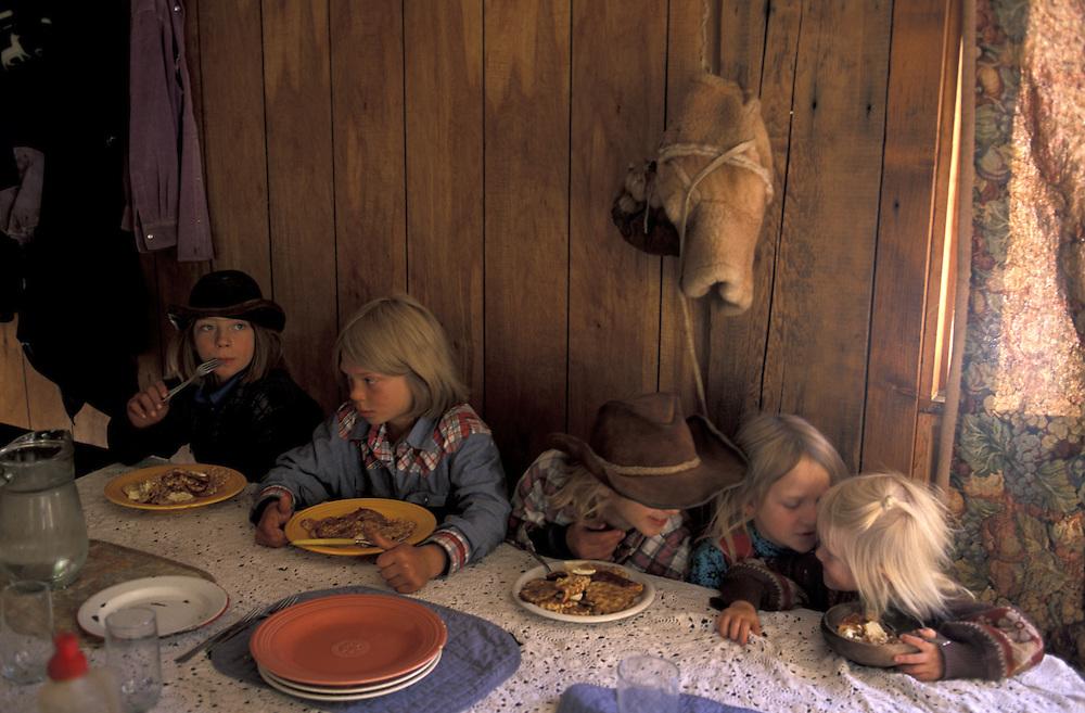 Kids Breakfast.The Pilgrim Family.Alaska.USA