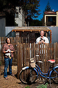 Landscape architects Catherine Chang and Christopher Andrews at Pizzaiolo restaurant, where they designed a chicken coop for heirloom breeds that lay the eggs served to patrons.<br />