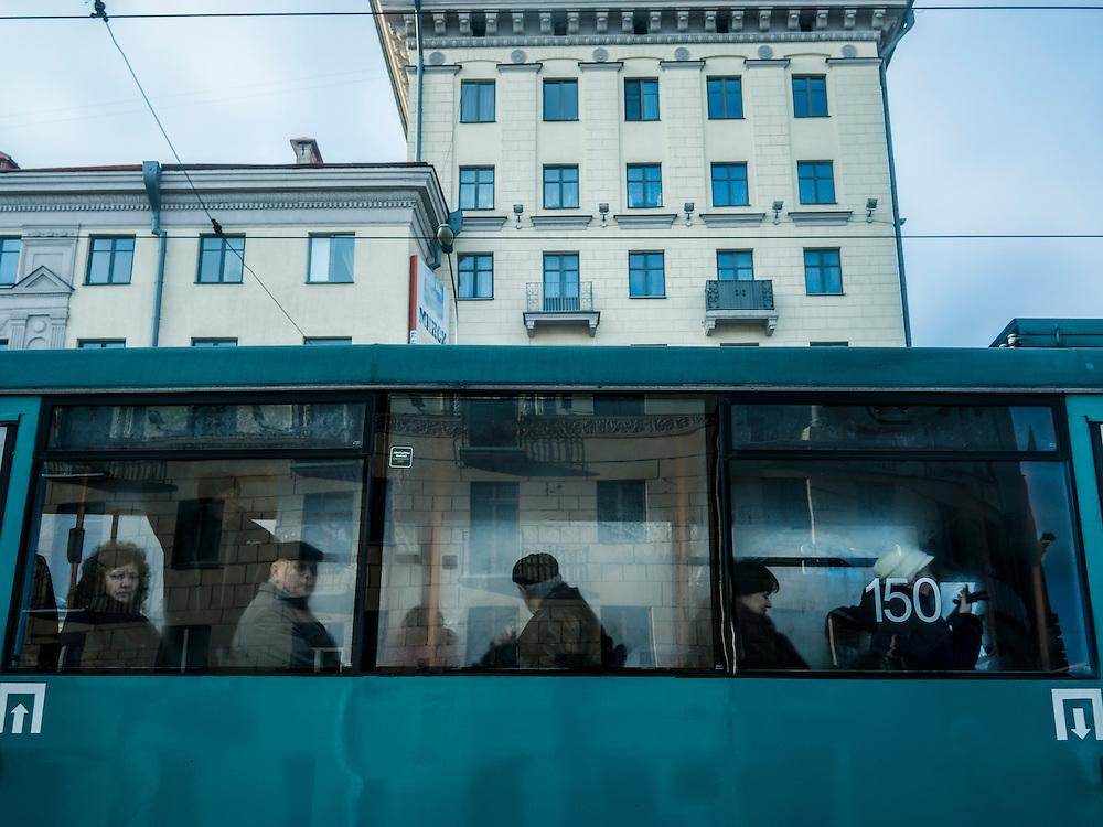 Commuters on a tram on Thursday, November 26, 2015 in Minsk, Belarus.