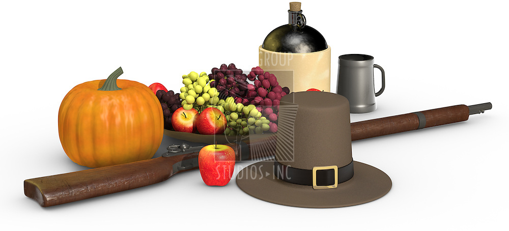 Thanksgiving objects on a white background, including a musket, a pumpkin, pilgrim's hat, fruit, apple, grapes, jug of cider and pewter mug