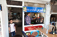 A Syrian coffee shop, owned and run by Syrian refugees from Aleppo, in the centre of the Turkish city of Gaziantep, near the Turkey-Syria border.