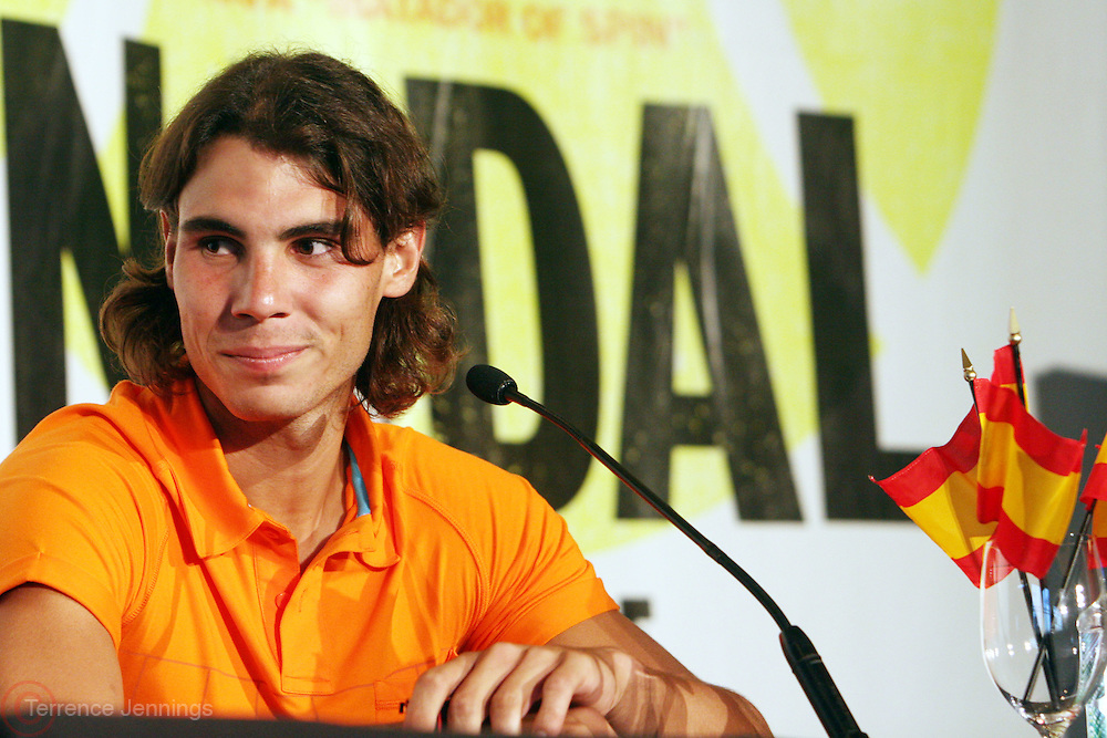 Raphael Nadal at the Don King and Nike presentation(press conference) ' Grapple in the Apple '  with Roger Federer and Raphael Nadal at The Madarin Oriental Hotel (North Salon) on August 21, 2008 in New York City
