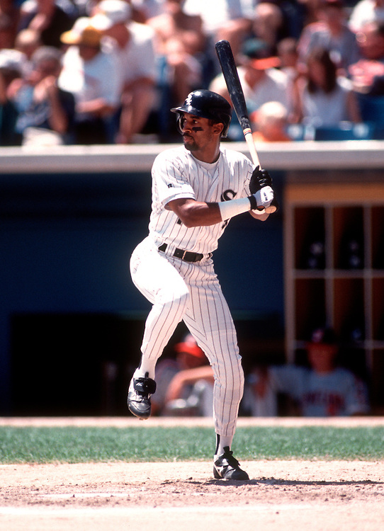 CHICAGO - UNDATED: Lance Johnson #1 of the Chicago White Sox bats in an MLB game at Comiskey Park in Chicago, Illinois.  (Photo by Ron Vesely)