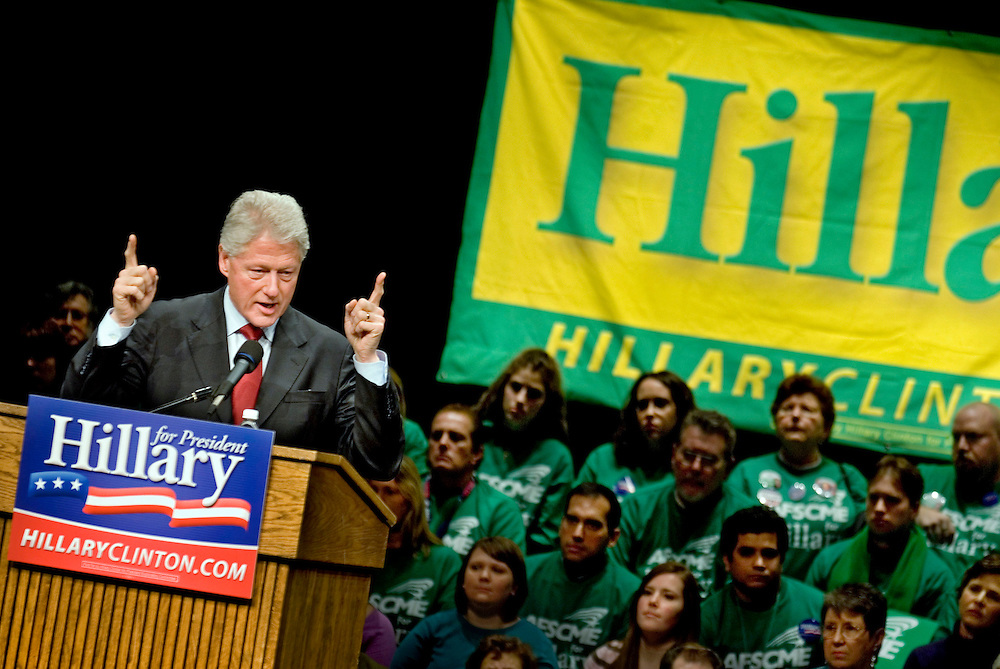 Hilary Clinton campaign, Iowa.President Bill Clinton speaks at the Fisher Theater at Iowa State Univeristy, Ames, Iowa. .Photo by Chris Maluszynski /MOMENT