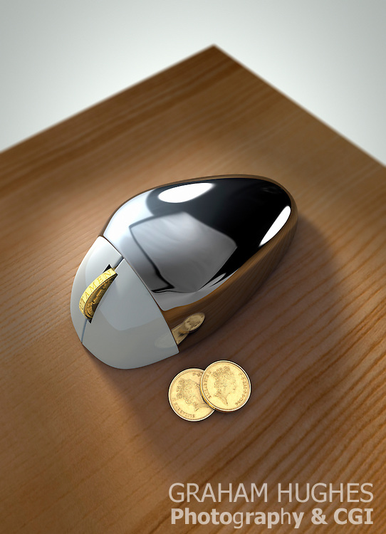 Computer mouse with British pound coin as scroll wheel
