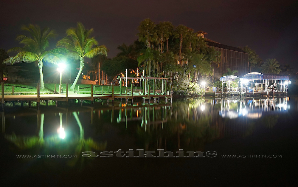 Harbor at night in Florida.