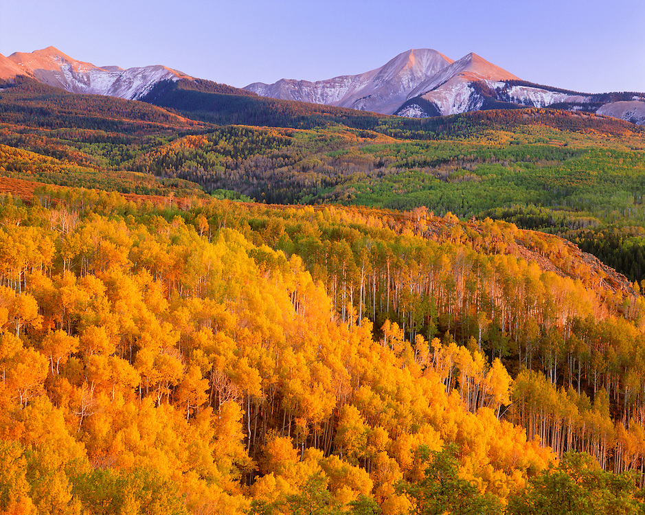 0340-1004 ~ Copyright:  George H. H. Huey ~ Autumn with aspens,  and South Mountain with early snow.  La Sal Mountains.  Manti-La Sal National Forest, Utah.