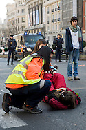 The manifestation against the cuts of the educational system in madrid was a pacific .Los students shouted slogans in against the new government. But they were not alone. Teachers and parents walked together with them. The police were monitoring for if there were disturbances, but they did not take place in the whole march. A young woman student pulls out victim of the weariness.