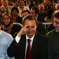 Jose Luis Rodriguez Zapatero, Spain's prime minister, gestures during his speech at the Bilbao Exhibition Centre on Wednesday, Feb. 27, 2008 in Barakaldo, Spain. Zapatero is running against Mariano Rajoy, Spain's People's Party leader in the upcoming March 9th election.