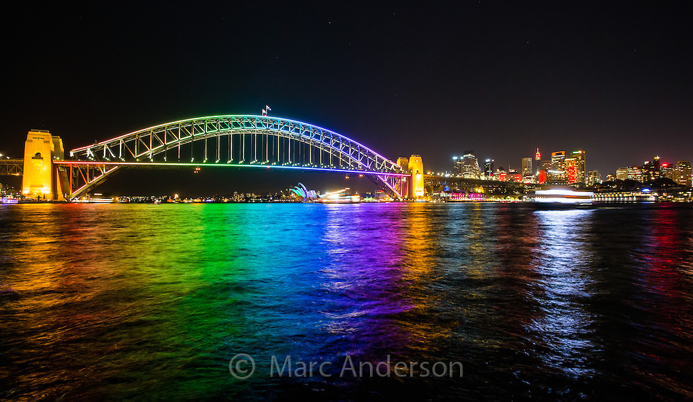 Wide angle view of Sydney Harbour Bridge at night during the annual Sydney Lighting Festival
