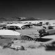 Turquoise Chevrolet - Pearsonville, CA - Lensbaby - Infrared Black & White