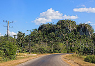 Road and mogote near Puente de Cabezas, Pinar del Rio, Cuba.