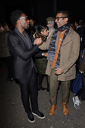 Tinie Tempah and DJ Nihal attend LCM a/w 2015 Oliver Spencer Show  at The Old Sorting House, New Oxford Street,  London on Saturday 10 January 2015