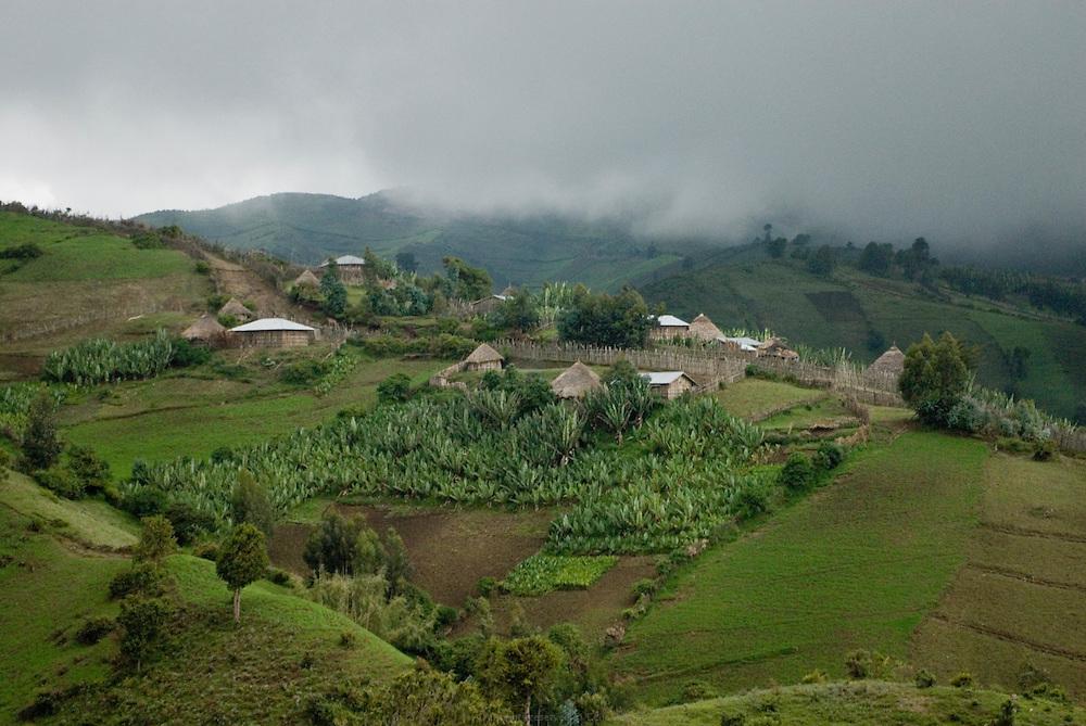 """Sur les flancs du volcan Wenchi qui culmine à 3280 mètres à 200 km à l'ouest d'Addis Abeba, la forte inclinaison du sol empêche les fermiers de labourer avec une charrue à bœufs. Toutes les terres sont donc travaillées manuellement avec une pioche à trois dents. On compte quatorze rivières qui ruissèlent sur les pentes du volcan depuis le Lac Wenchi formé par de multiples sources au cœur du cratère. Celles-ci apportent une irrigation naturelle aux petits agriculteurs locaux. Par ailleurs, le Lac Wenchi est à l'origine de l'unique source minérale estampillée """"made in Ethiopia"""" et appelée Ambo Water. Éthiopie août 2011."""