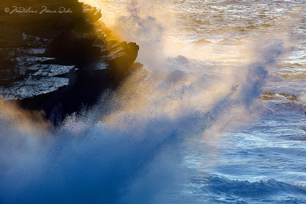 Golden Sunbeam and Waves clashing at the Cliffs, Ring of Kerry, Ireland / vl122