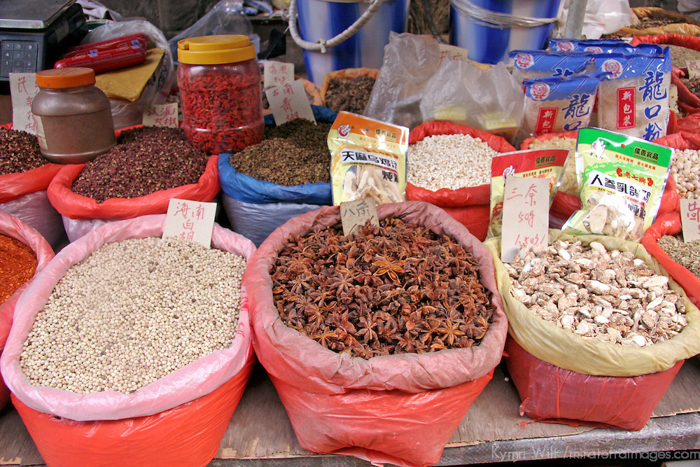 Asia, China, Chongqing. Chinese medicinal herbs in the street market.