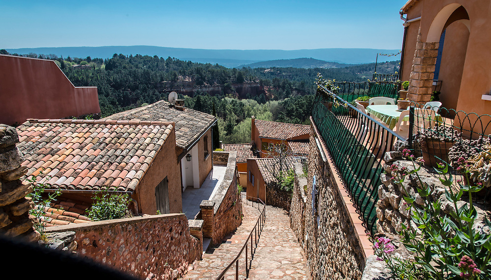 A walkway in picturesque Roussillon, France.