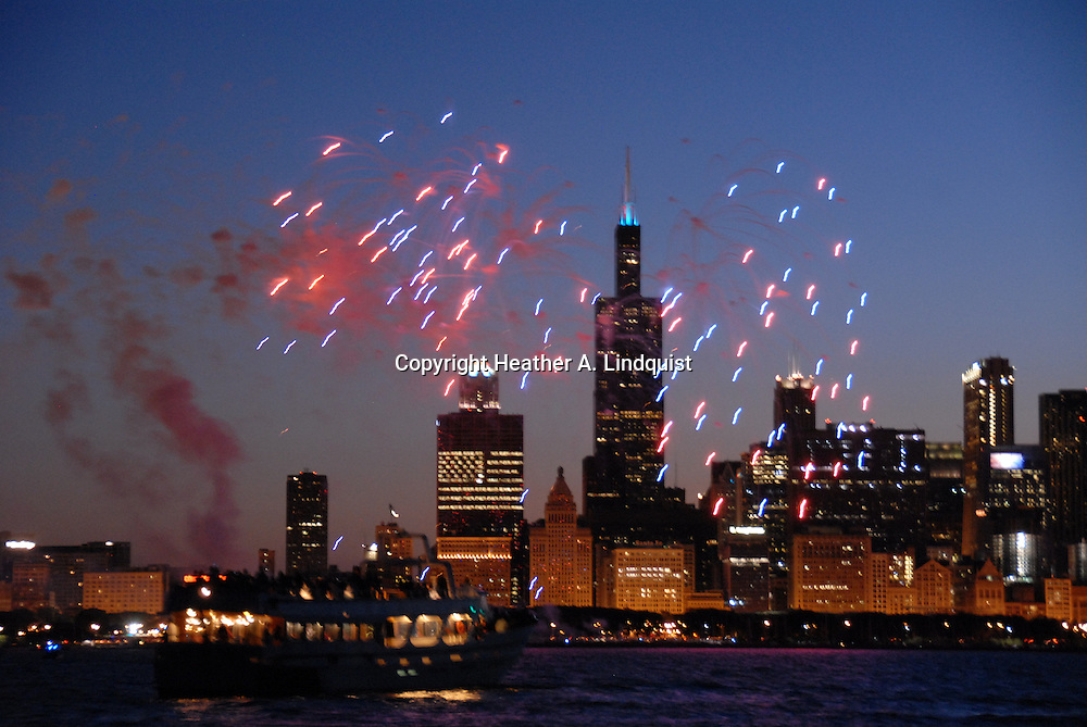 """4th of July 2008 .Lake Michigan out of Monroe Harbor.on Sailboat """"Glory Days"""""""