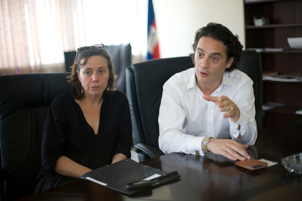 Jude Hervey Day, Head of Cabinet meets with David Koubbi, French lawyer at the Prime Ministers office. Koubbi, a French lawyer, is visiting Haiti to advocate to the Haitian government for passports for 56 children. The children were in the adoption process before the earthquake and though the adoptions have all been finalized, the children need passports before they can join their adopted families in France.