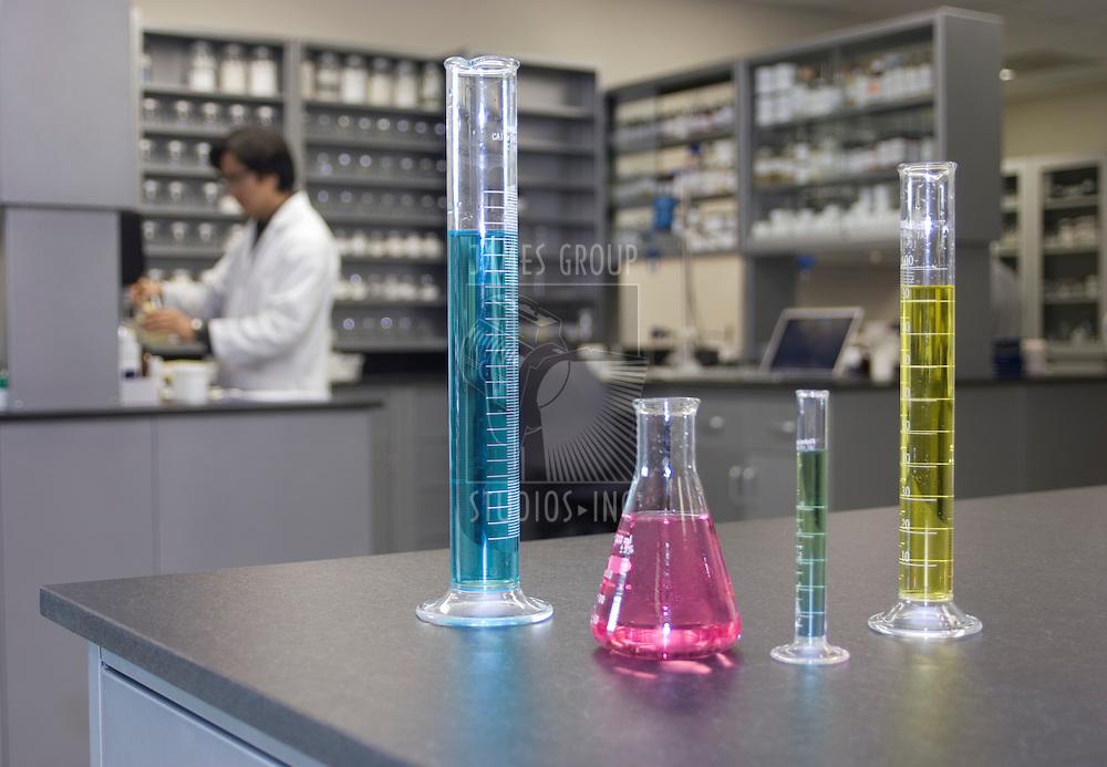 Laboratory glassware sitting on a counter in a laboratory