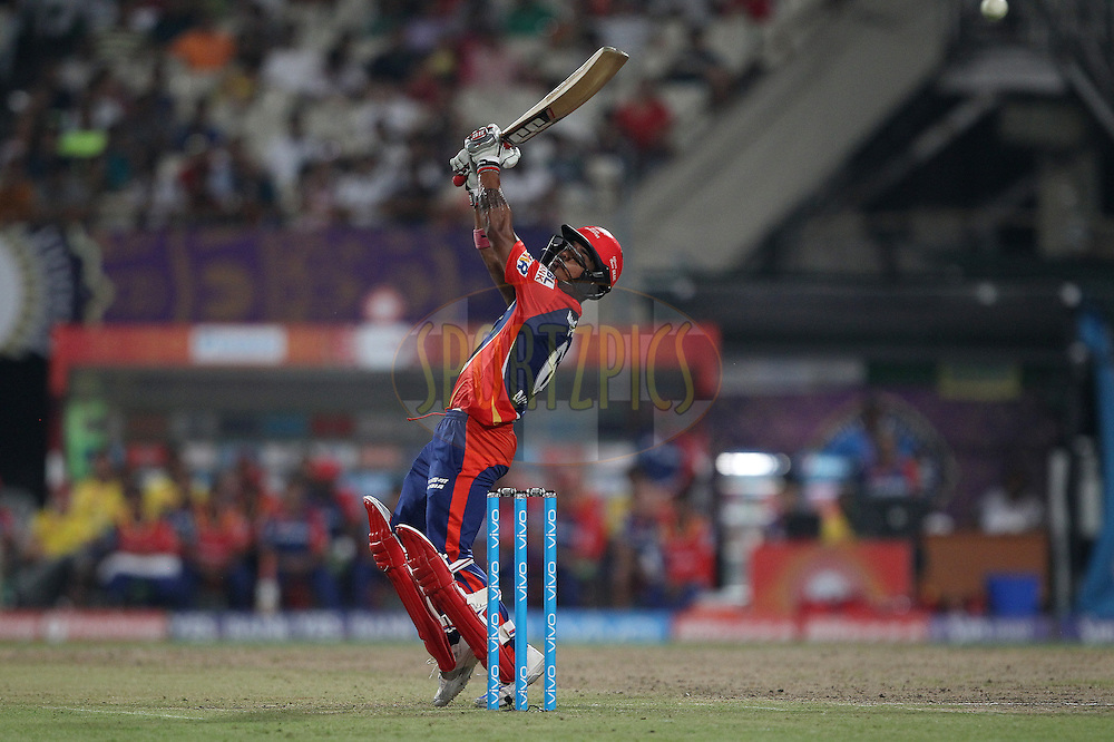 Pawan Negi of Delhi Daredevils tries the ramp shot during match 2 of the Vivo Indian Premier League ( IPL ) 2016 between the Kolkata Knight Riders and the Delhi Daredevils held at the Eden Gardens Stadium in Kolkata on the 10th April 2016<br /> <br /> Photo by Ron Gaunt/ IPL/ SPORTZPICS