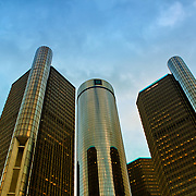 &quot;RenCen in Gold&quot;<br /> <br /> The beautiful GM Renaissance Center in Detroit with late day sunlight casting a golden tone on the buildings.<br /> <br /> Cities and Skyscrapers by Rachel Cohen