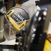 DETROIT, MI - OCTOBER, 30: A throw back to the original Shinola, Shinola Detroit Saddle Soap sits in a tool box as leather watchbands make their way down a conveyer belt at the Shinola factory in Detroit, Michigan, Thursday, October 30, 2014. (Photo by Jeffrey Sauger)