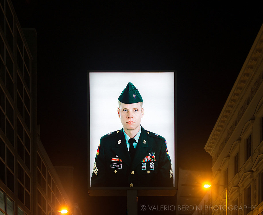Fictional portrait of an American soldier at Checkpoint Charlie where the main crossing point between East and West Berlin during the Cold War was.