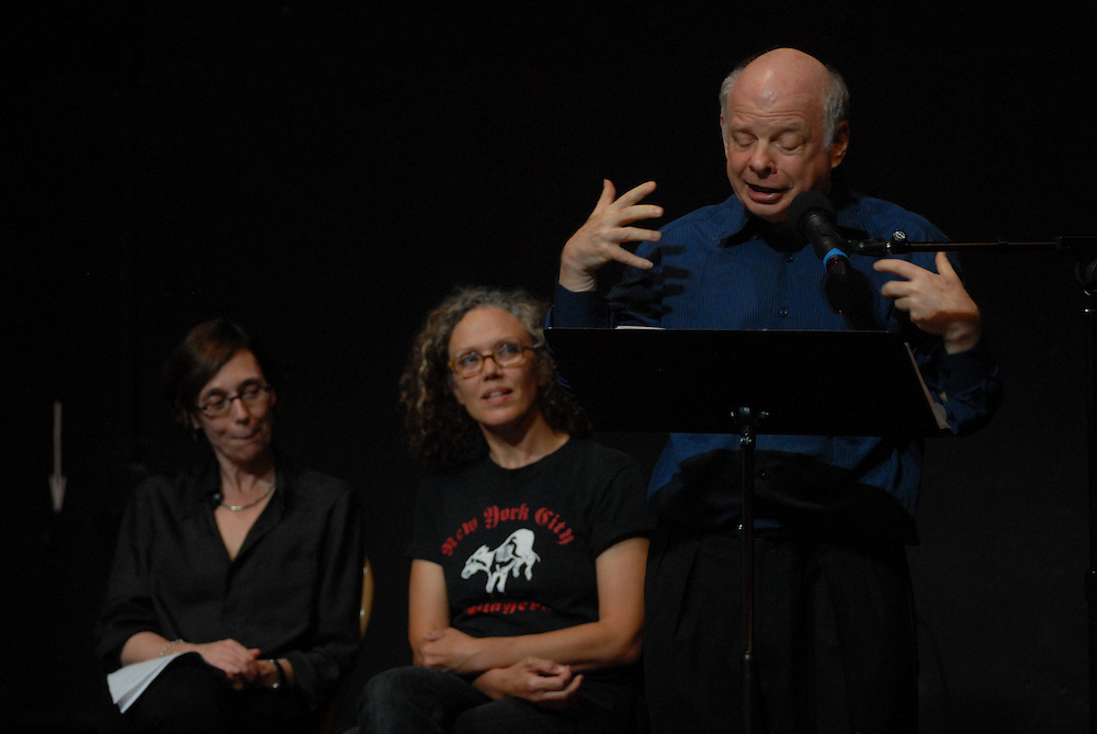 Photo shows  Frances Coady (left) Kate Valk (center) and Wallace Shawn...An evening of readings with Peter Carey Booker Prize novelist at at The Performing Garage. 33 Wooster Street, Manhattan.Readings were performed by Wallace Shawn, Scott Shepherd, Maura Tierney, and students from Still Waters in a Storm. Selections from Mr. Carey's work were read, including a preview of his new novel..Hosted by Kate Valk of The Wooster Group and Frances Coady, publisher of Picador U.S.A. All proceeds benefited 'Still Waters in a Storm' A reading and writing sanctuary for children in Bushwick, Brooklyn.