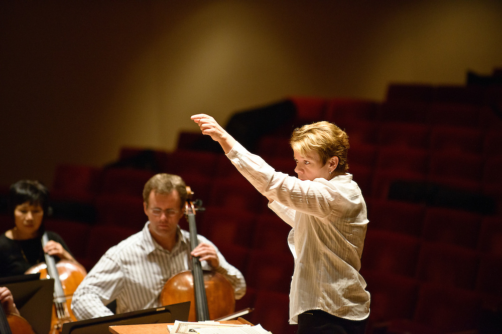 (photo by Matt Roth).Assignment ID: 30127886A..Baltimore Symphony Orchestra Music Director Marin Alsop conducts during the first full orchestra rehearsal during the third annual BSO Academy at the Meyerhof Symphony Hall in Baltimore, MD Tuesday, June 26, 2012. ..