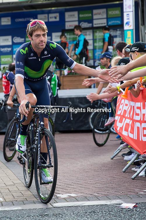 06.09.2016. Congleton Cheshire, England. Tour of Britain, Stage 3, Congleton to Knutsford.  Movistar Team rider Alex Dowsett at the start.