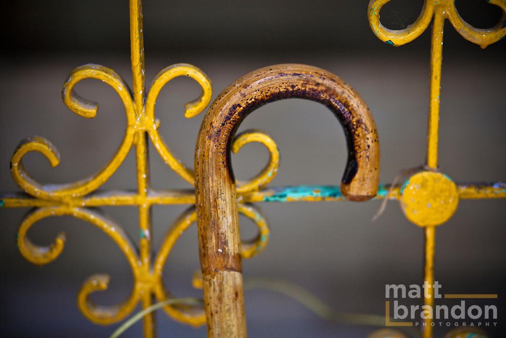 A detail shot of a cane. In Nizamuddin Darga.