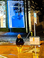 Abstract of bus stop at night