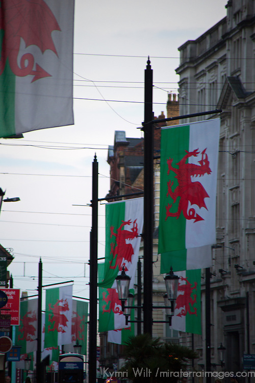 Europe, United Kingdom, Wales, Cardiff.  Welsh Flags over Westgate Street in Cardiff.