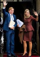 8-12-2016 AMSTERDAM - King Willem Alexander and Queen Maxima, Patron of the Foundation, has, Thursday December 8, 2016 presented at the Royal Palace in Amsterdam, the Erasmus Prize from the British writer A.S. Byatt. The prize this year has the theme 'Life Writing' includes a hot topic within the literature, biographies, autobiographies and historical novels. COPYRIGHT ROBIN UTRECHT<br /> <br /> 8-12-2016 AMSTERDAM - Koning Willem Alexander en koningin Maxima en prinses beatrix  , Regent van de Stichting Praemium Erasmianum, reikt donderdagmiddag 8 december 2016 in het Koninklijk Paleis Amsterdam de Erasmusprijs uit aan de Britse schrijfster A.S. Byatt. De Erasmusprijs heeft dit jaar als thema &lsquo;Life Writing&rsquo;, een actueel onderwerp binnen de literatuur dat biografie&euml;n, autobiografie&euml;n en historische romans omvat. COPYRIGHT ROBIN UTRECHT
