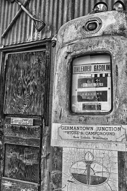 Vintage Gasoline Pump - Eldorado Canyon - Nelson NV - HDR -  Black & White