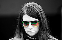 Feb 18, 2012; Daytona Beach, FL, USA; The car of NASCAR Sprint Cup Series driver Danica Patrick reflects in her shades during practice for the Daytona 500 at Daytona International Speedway.
