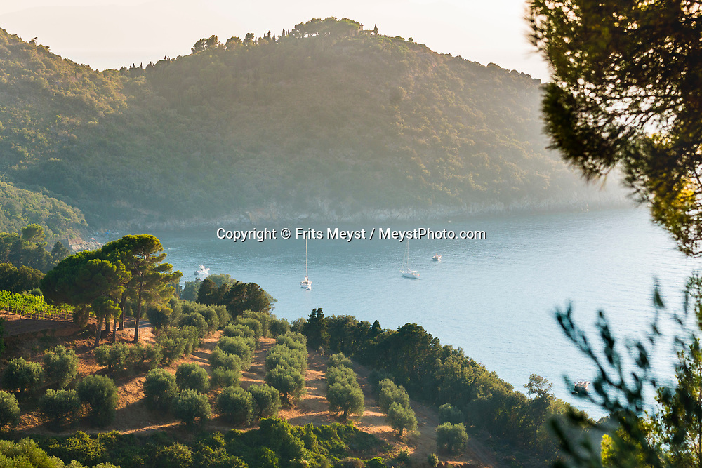 Maremma, Tuscany, Italy, July 2016. A rugged coastline connects Porto Santo Stefano and Porto Ercole. The shoreline of Tuscany is at its best in the Maremma region; the name derives from Marittima, referring to the rugged coastal strip and inland hills of the Grosseto, Tuscany's southernmost province.  Photo by Frits Meyst / MeystPhoto.com